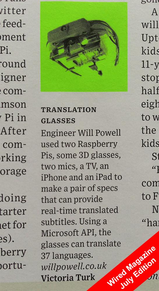 Wired Magazine Translation Glasses